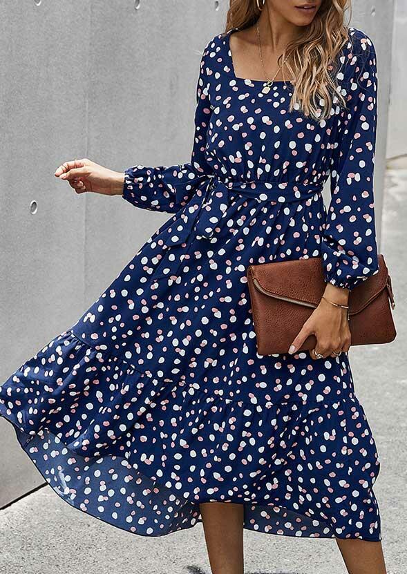 Polka Dot Lantern Sleeve Square Collar Casual Dress - Navy Blue