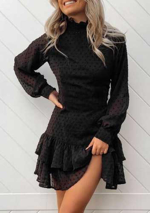 Dotted Swiss Elastic Cuff Zipper Layered Mini Dress - Black