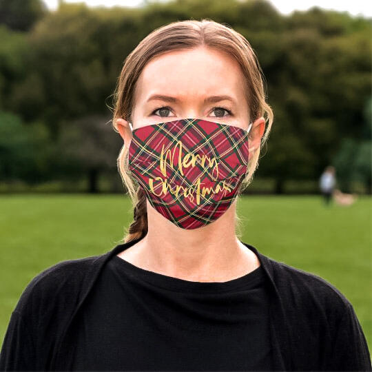 Plaid Merry Christmas Anti-Dust Reusable Mouth Shield