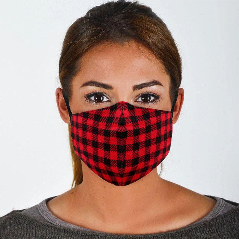 Christmas Buffalo Plaid Anti-Dust Reusable Face Mask