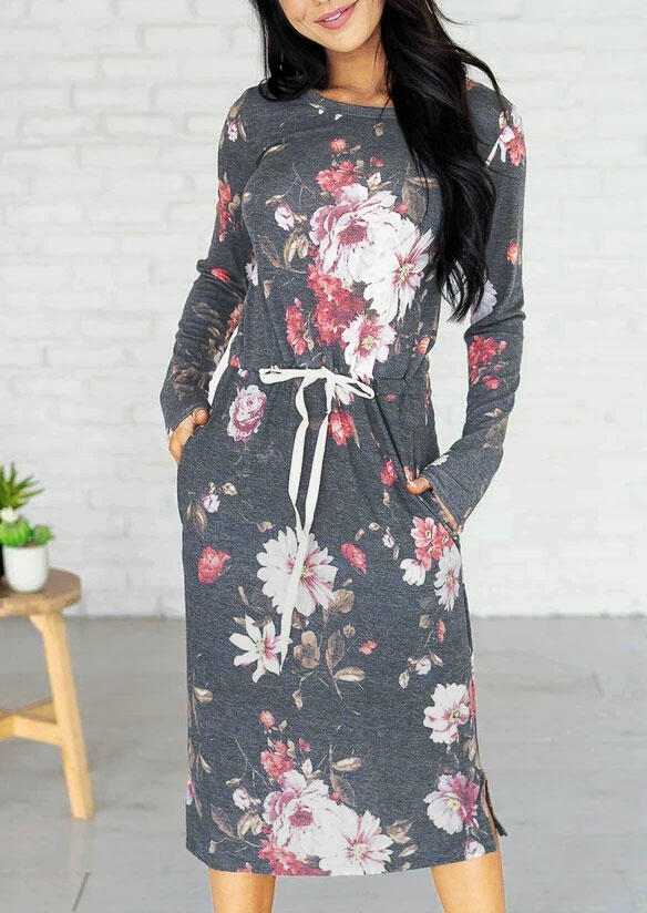 Floral Drawstring Elastic Waist Pocket Slit Casual Dress - Gray