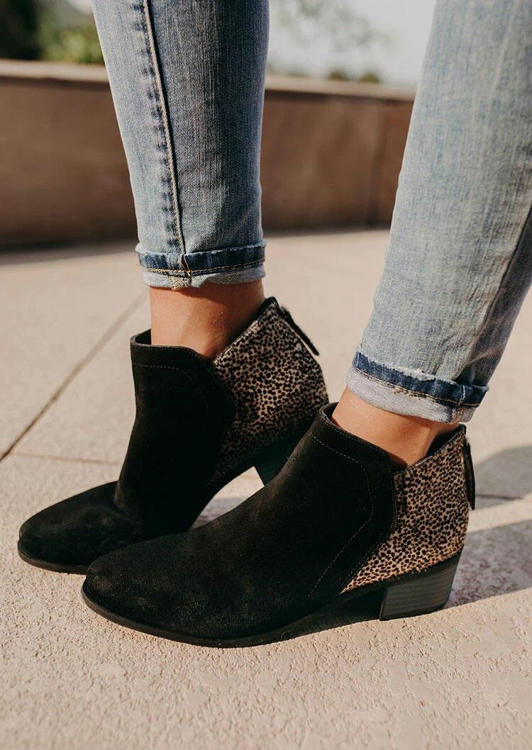Leopard Splicing Zipper Chunky Heel Ankle Boots
