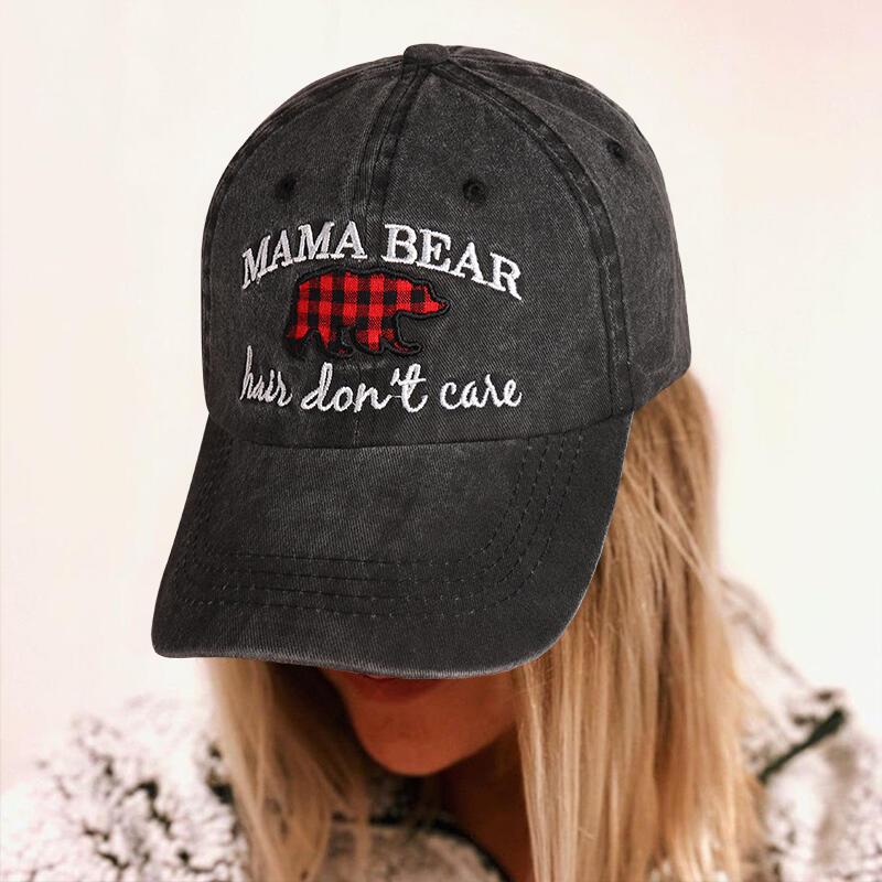 Buffalo Plaid Mama Bear Hair Don't Care Baseball Cap