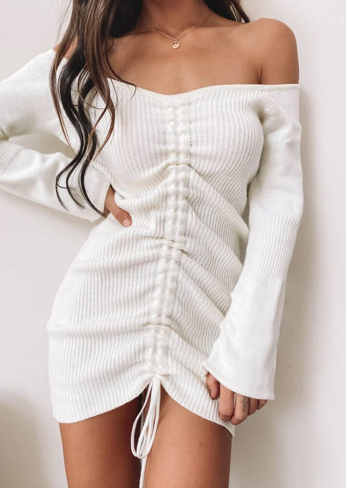 Ruched Drawstring Off??Shoulder Bodycon Dress - White