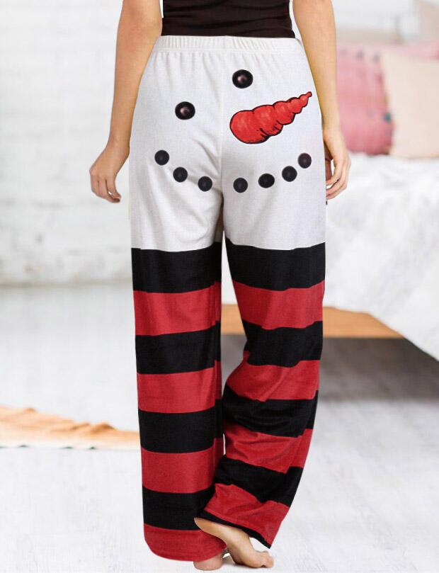 Christmas Snowman Striped Splicing Tie Wide Leg Pants