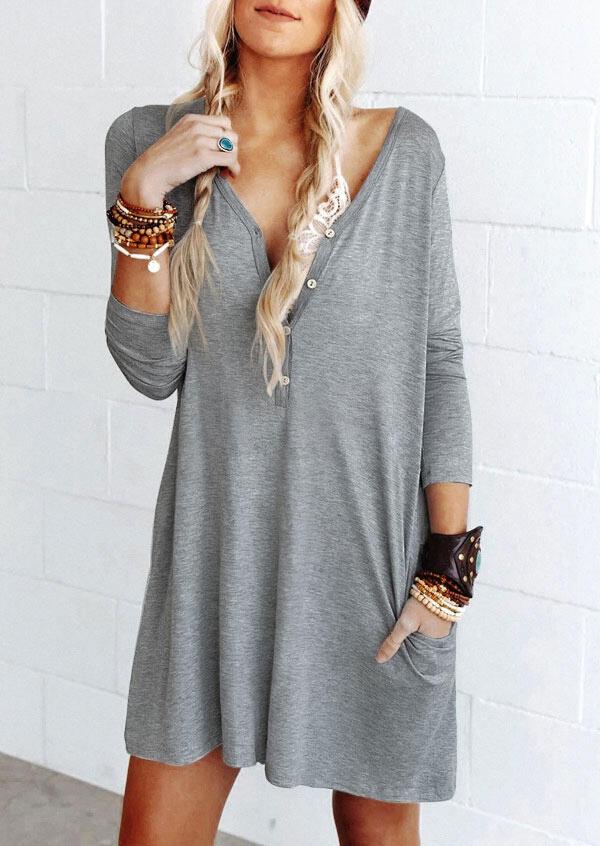 Button Pocket Deep V-Neck Long Sleeve Mini Dress - Gray