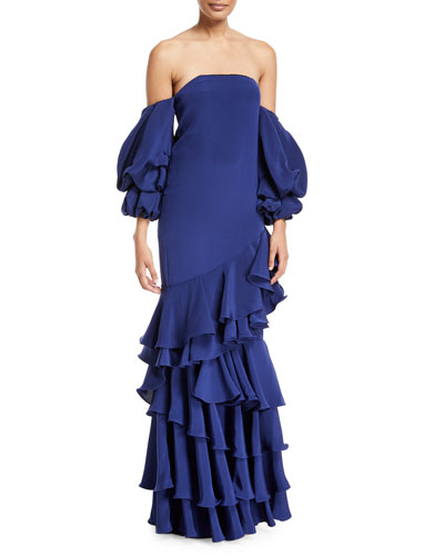 f1857110c Masquerade Off-Shoulder Ruffle Gown
