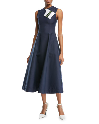 Sleeveless Fit-and-Flare Tea-Length Dress with Striped Foldover