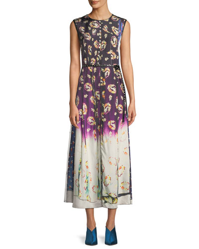 Sleeveless Photographic Floral-Print A-Line Dress w/ Studded Leather Belt