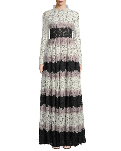 Ruffle-Collar Long-Sleeve Striped Heavy Lace Evening Gown