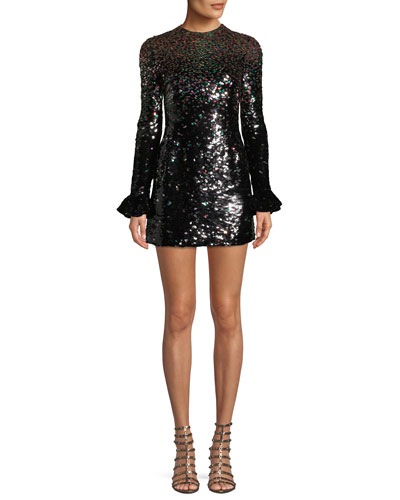 Jewel-Neck Long-Sleeve Sequined Cocktail Dress