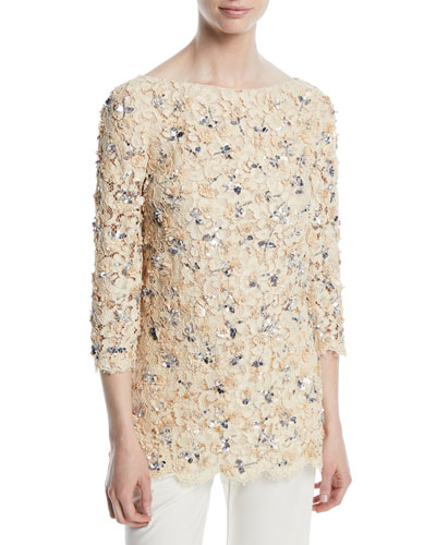 3/4-Sleeve Bateau-Neck Lace Blouse with Rose Embroidery & Sequins