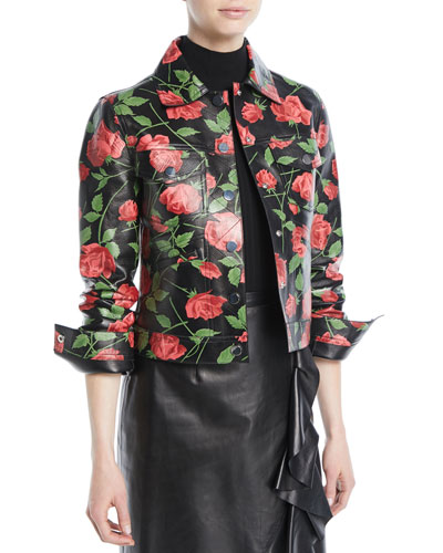 Stemmed Rose-Print Plonge Lamb Leather Jacket