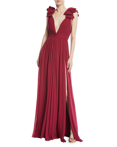 Deep V-Neck Silk Crepe Georgette Evening Gown with Front Slit