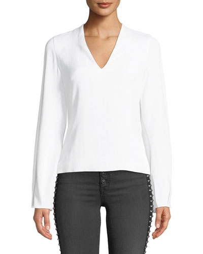 V-Neck Long-Sleeve Cady Top