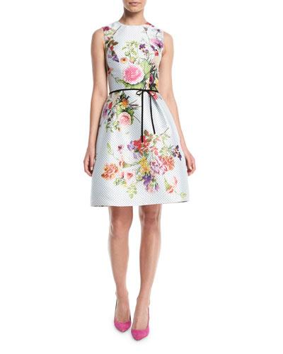 ed36315fd4f Sleeveless A-Line Floral-Print Polka-Dot Mikado Cocktail Dress w/ Belt.  QUICK LOOK