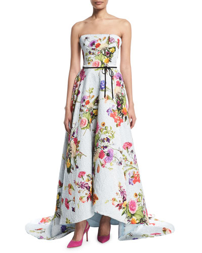38246125254 Strapless Dotted Floral-Print Jacquard High-Low Evening Gown w/ Train. QUICK  LOOK