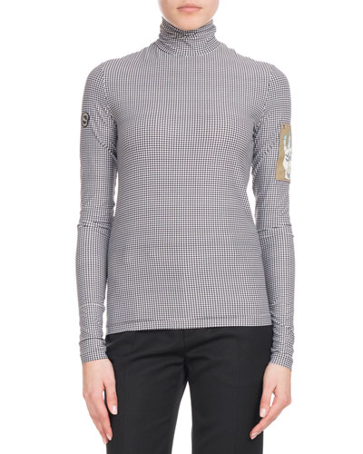 Check-Print Long-Sleeve Turtleneck Top w/ Sleeve Patch