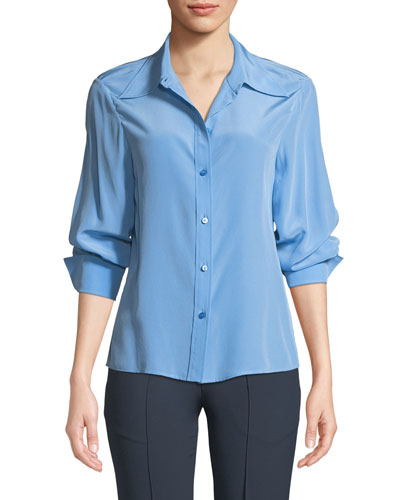 Button-Front Long-Sleeve Silk Blouse