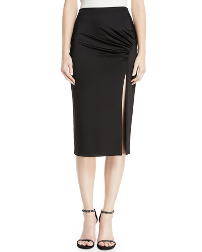 High-Waist Fitted Jersey Pencil Dress w/ Front Slit