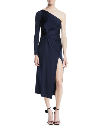 One-Shoulder Gathered-Waist Slit Fitted Jersey Midi Cocktail Dress