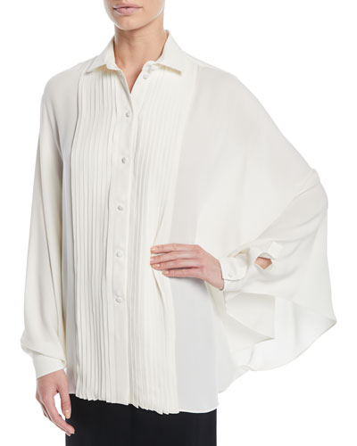 Long-Sleeve Pleated Button-Front Silk Georgette Blouse