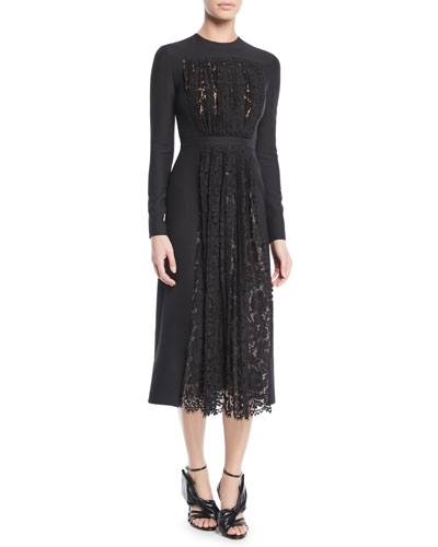 Long-Sleeve Crepe Couture Dress w/ Lace Pleated Panel
