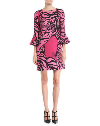 3/4-Sleeve Tiger-Print Crepe Couture Shift Dress