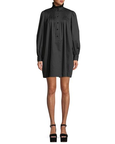 Ruffle-Collar Long-Sleeve Cotton Pleated Shift Dress