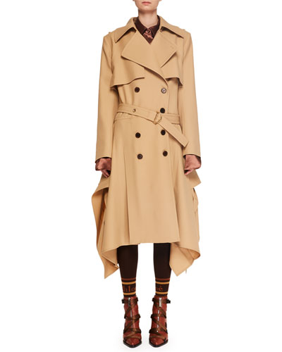 Double-Breasted Belted Drape-Side Wool Trench Coat