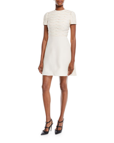 Short-Sleeve Scallop Crystal-Beaded A-Line Mini Cocktail Dress