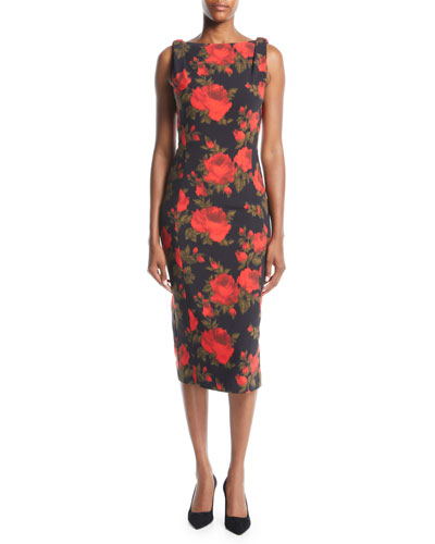 Sleeveless Floral-Print Midi Sheath Dress