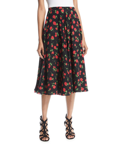 A-Line Rose-Print Silk Georgette Midi Skirt