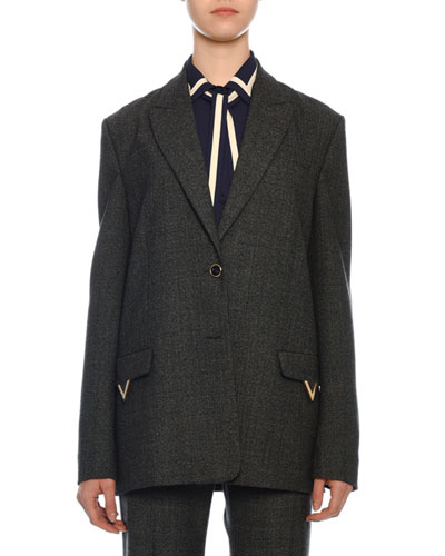 Single-Breasted Wool Jacket with Logo Pockets