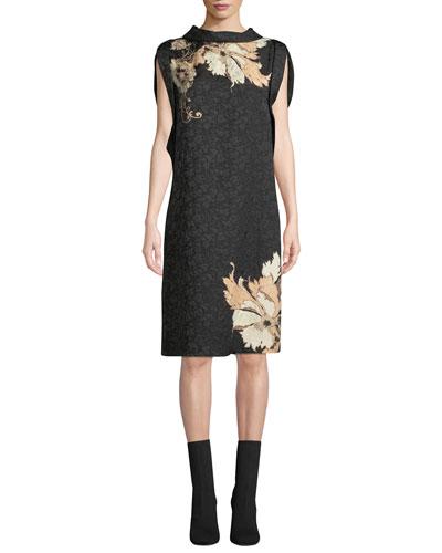 9779d8c7cc3 Poppy-Jacquard Cap-Sleeve Dress