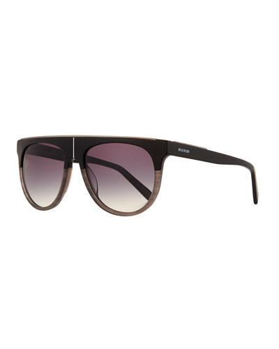 Flat-Top Two-Tone Acetate Aviator-Style Sunglasses, Black