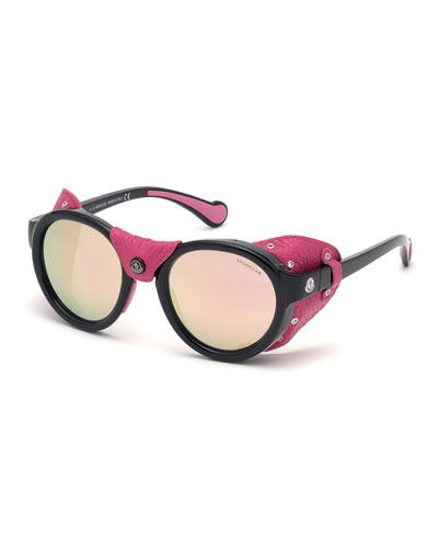 Round Mirrored Sunglasses w/ Leather Side Blinders