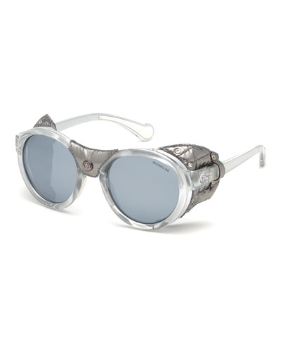 Round Mirrored Sunglasses w/ Metallic Leather Side Blinders