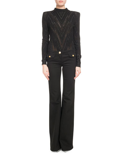 High-Neck Shoulder-Button Metallic-Chevron Sweater and Matching Items