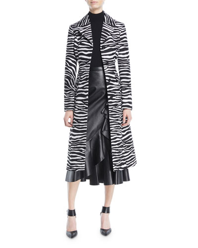 Button-Front Zebra-Jacquard Wool Coat and Matching Items
