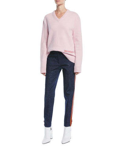 V-Neck Long-Sleeve Wool-Cotton Oversized Sweater and Matching Items