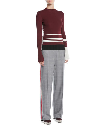 Crewneck Long-Sleeve Striped Knit Sweater and Matching Items