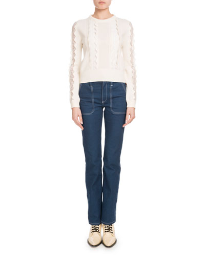 Straight-Leg Jeans with Contrast Topstitching and Matching Items