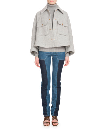 Snap-Front Two-Pocket Wool-Blend Jacket and Matching Items