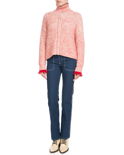 Turtleneck Long-Sleeve Wool-Blend Knit Sweater and Matching Items