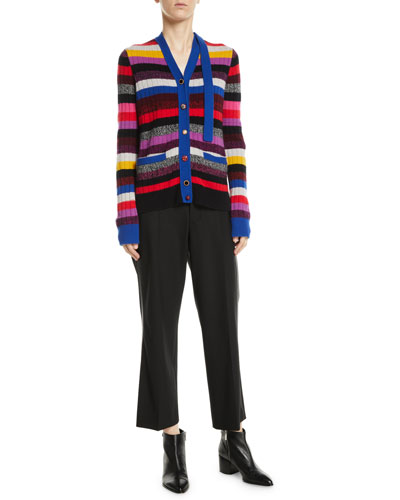 V-Neck Multicolor Stripe Cashmere Cardigan and Matching Items