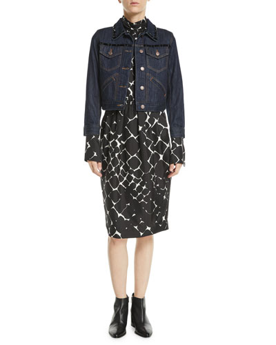 Beaded Button-Front Shrunken Denim Jacket w/ Contrast Topstitching and Matching Items