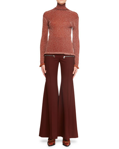 Flared-Leg Wool Pants w/ Zip Details and Matching Items