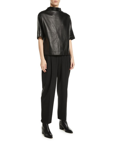 Button-Back Mock-Neck Short-Sleeve Lamb Leather Top and Matching Items