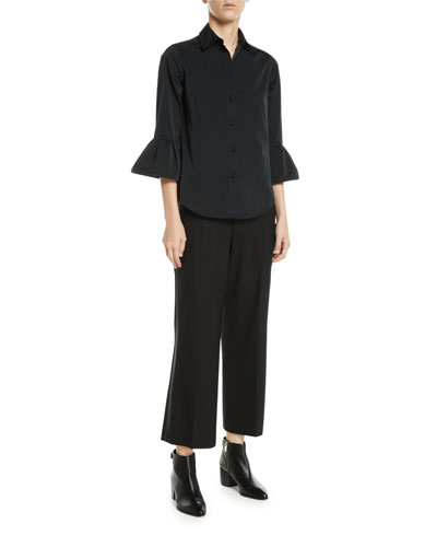 Button-Front 3/4 Ruffle Sleeve Slim Shirt and Matching Items